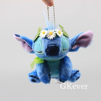 Cartoon Stitch Plush Keychain Pendant with Flower Accessories Plush Toy Cute Mini Stitch Soft Stuffed Dolls 11 cm