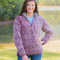 Southern Shirt Company Quarter Zip Sherpa Pullover in Heather Sassafras 3V001-294