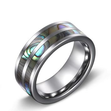 Tungsten Ring Double Abalone Shell Inlay
