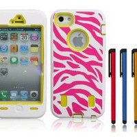 """Jersey Bling (TM) HOT Pink, Purple or Blue Zebra Defender Hybrid Fusion Hard Back Protective Impact Iphone 4/4s Case/Cover COMBO w/FREE Metallic 4"""" Stylus & 1 Mini Dust Plug Touch Pen (White & HOT Pink with Neon Yellow)"""