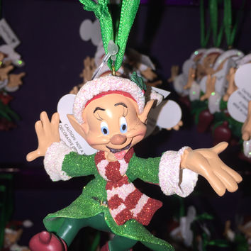 disney parks christmas seven dwarfs dopey glitter ornament new with tag