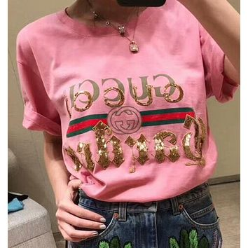 GUCCI New Popular Women Sequin Letter T-Shirt Pullover Top Pink I-AA-XDD
