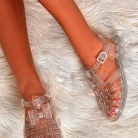 Sparky Clear Silver Sparkle Buckle Jelly Shoes | Pink Boutique