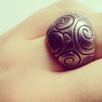Sterling Silver Spirals Oxidized Ring