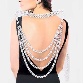 multi layer crystal 2 piece choker collar back necklace body chain