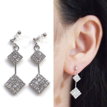 Bridal Crystal Clip on Earrings, Wedding Rhinestone Invisible Clip on Earrings, Dangle Square Crystal Clip Earrings, Non Pierced Earrings