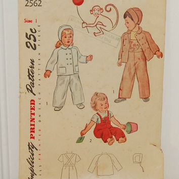 Simplicity Printed Pattern 2562 (c. 1940's) Baby Toddler Size 1 Boys and Girls Jacket, Hat, Overalls, Monkey Embroidery Transfer