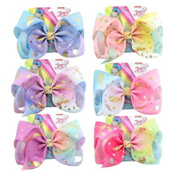 "8"" Large JoJo Bow With Hair Clip Jumbo Hairgrips 6PCS Metalic Unicorn Mermaid Printed Signature Ribbon Bow DIY Hair Accessory"