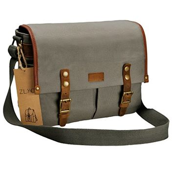ZLYC Unisex Vintage Water Resistant Genuine Leather and Canvas Camera Messenger Shoulder Bag for DSLR Camera and Lens, Gray