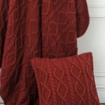 Cowgirl Kim Red Cable Knit Pillow
