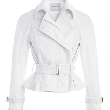 Coated Eyelet Moto Jacket by Peter Som - Moda Operandi