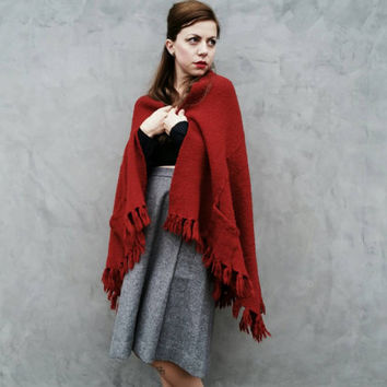 Burnt Sienna Shawl With Pockets // Rust Colored Poncho