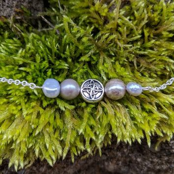 Pearl and Celtic knot necklace