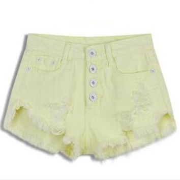 Summer High Waist shorts jeansWash Denim Short Blue Ripped