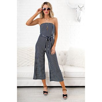 No Time For You Striped Jumpsuit (Navy)