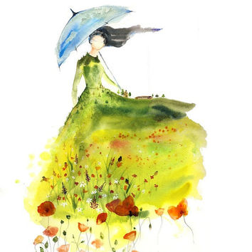 Lady of Glade - Fine Art Print spirit woman watercolor landscape Canadian prairie farmhouse guardian poppies blue umbrella Oladesign 11x14