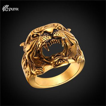 316L stainless steel antique tiger ring