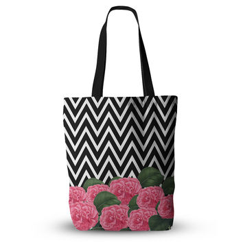 "Suzanne Carter ""Camellia"" Chevron Flower Everything Tote Bag"