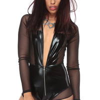 Black Faux Leather Bey Bodysuit