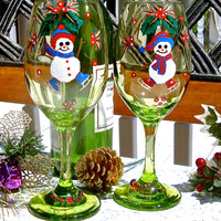 Hand Painted Christmas Wine Glasses With Snowmen, Painted Holiday Wine Glasses