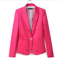 Za new hot stylish and comfortable women's Blazers Candy color lined with striped Z suit   Blazers  Free Shipping