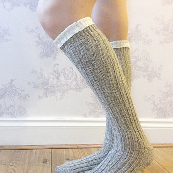 Beige Boot Socks, Crochet Lace Socks, Wool Blend Knitted Socks, Leg Warmers, Winter Wear, Fashion Accessory, Fashion Socks. Wool Stockings.