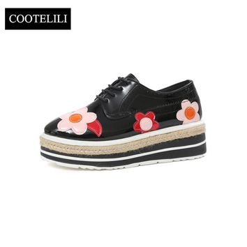 COOTELILI 35-39 Spring Casual Flats Women Shoes Lace-Up Round Toe Loafers Platforms Floral Oxfords Leisure British Ladies Shoes