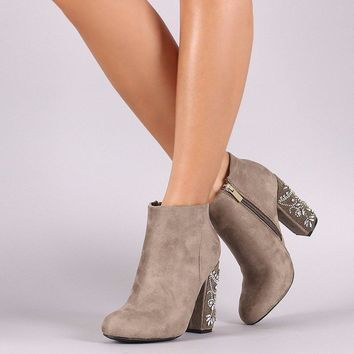 Suede Rhinestone Chunky Heeled Ankle Boots