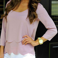 Pink Two-Layered Scallop Trim Blouse