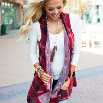 Maybe One Day Plaid Vest Red