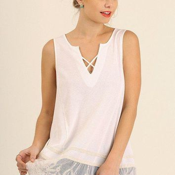 Lace Hem Sleeveless Top with Crisscross V-Neck Off White