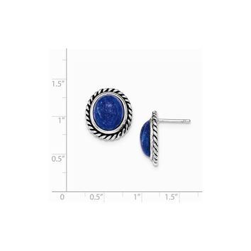 Sterling Silver Polished/antiqued Lapis Cabochon Post Earrings
