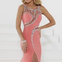 Beaded Sheer Gown by Tiffany Designs