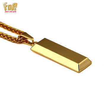 JFY NECKLACE BRAND 18K Gold Cube Bar SUPREME Necklace&Pendant Hip Hop Jewelry Dance Charm Franco Men Chain Necklace Gold Unisex