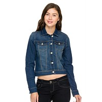 Casual Retro Cropped Slim Fit Stretch Denim Jean Jacket