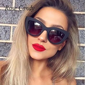 Women Cateye Vintage Sunglasses Brand Designer Retro Points Small Size Mirror Sun Glasses Female Lady Eyeglass Rose Gold Cat Eye