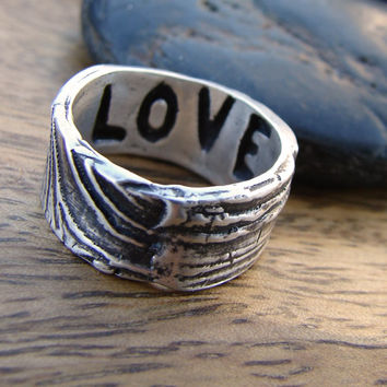 Valentines Day Love Ring. Engravable Faux Bois Ring. Silver Wood Grain Ring
