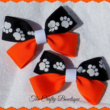 "3"" Clippie PIgtail Hair Bow Set ~ Black & Orange White Paw Prints ~ Baby Hair Bow, Two Toned Hair Bows, Boutique Hair Bows"