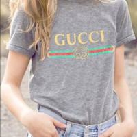 GUCCI Fashion Scoop Neck Tunic Shirt Top Blouse