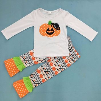 comfortable cotton halloween white pumpkin top matching print pants boutique kids  ruffle outfits toddler girls clothing H002
