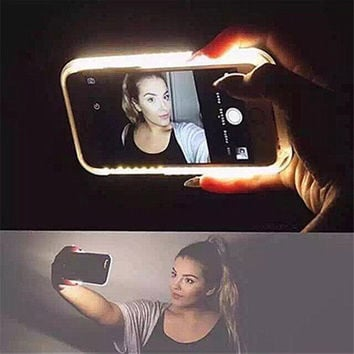 Fashion New Luxury Luminous Phone Cover LED Light Selfie Phone Case for iPhone 7 7 Plus 5 5S 6 6S 6 6S Plus