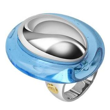 Masini Designer Rings Vanita' - Blue Sterling Silver Oval Ring