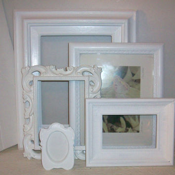 Set of 5 Shabby Chic Bright White Picture Frames for Gallery Wall