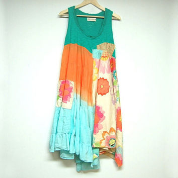 Large Hippie Boho Dress, Funky Artsy Dress, Sleeveless Long Top, Eco Upcycled Clothing, Anthropologie Free People Inspired