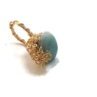 Larimar Gemstone Statement Ring Wire-Wrapped in Gold - Size 5.5 - RIN066
