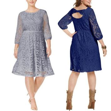 Trendy New Women Vintage Loose Plus Size Round Neck Floral Lace Three Quarter Sleeve Formal Party Ladies Dresses