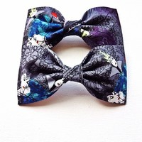Villain vintage print handmade fabric hair bow or bow tie