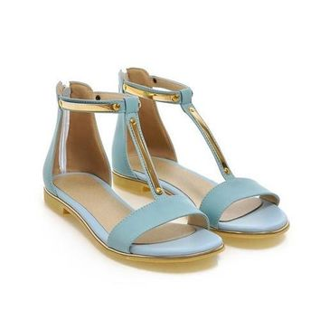 Summer Open Toe T-Strap Zip Sequined Flat Blue Sandals