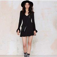 Stylish Sexy Deep V Slim Long Sleeve One Piece Dress [4918036868]