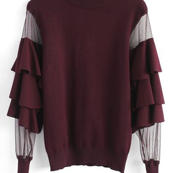 Pure Pleasure Smock Top with Tiered Flare Sleeves in Wine